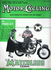 Apr 18 1957 MATCHLESS 'Clubman Model G9' Motor Cycle ADVERT Magazine Cover Print