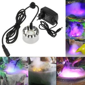 Aquarium Nebelerzeuger 12 LED Mist Maker Brunnen Nebelmaschine Luftbefeuchter DE