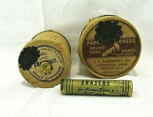 Vintage 2 Boxes Brass Paper Fasteners & Autopoint Pencil Erasers Full Box of 4