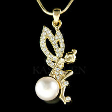 w Swarovski Crystal ~Pearl Tinkerbell Tinker Bell Fairy Angel Gold Tone Necklace
