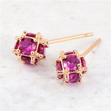 Perfect 18K Rose Gold Filled crystal Crystal Womens Magic Ball Stud Earring