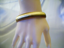 MONET Brushed Gold Plated Bangle Bracelet Satin Look Classic Elegance Vintage