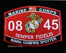 MOS 0845 NAVAL GUNFIRE SPOTTER US MARINES PATCH PIN UP SCHOOL WOW GIFT