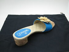 Chanel  Leather Camelia Flower Cork Heel CC Logo Mules Sandals Shoes 38 New