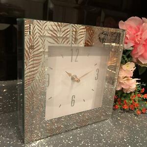 New 20cm Sparkle Rose Gold Leaf Clock Glitter Square Bedside Table Mantel Clock
