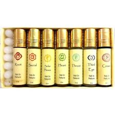Set of 7 Chakra Perfumed Oils in Roll On Bottles Premium Natural Perfume Oils