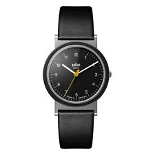 Braun Mens Gents Classic Watch Black Leather Strap AW 10 Swiss Movement