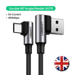 UGREEN USB C to USB A Cable 3A 90 Degree Right Angled Quick Fast Charge QC 3.0