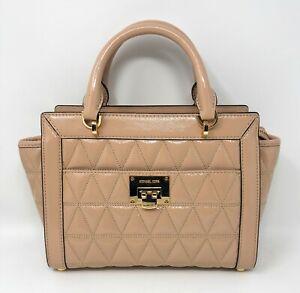 Michael Kors Vivianne Oyster Patent Leather Small Satchel Messenger Bag
