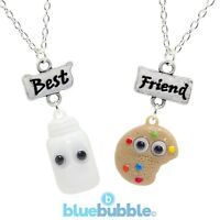 Bluebubble BFF Necklace Set Cute Googly Eyes Kitsch Kawaii Retro Funky Fun Food