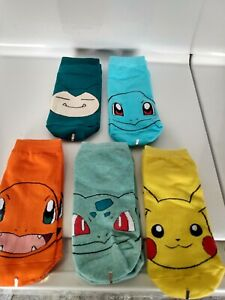 Set of 5 Pokemon Ankle Socks Cartoon Character Pikachu One Size Stretch