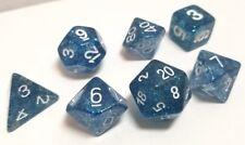 7 Piece Dark Blue Glitter Polyhedral Dice Set, d4 d8 d10 d20 Gaming D&D RPG DnD