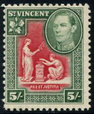 ST VINCENT - 1938 KGVI 5/- 'SCARLET & DEEP GREEN' MNH SG158 Cv £18 [A8453]