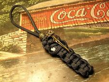 BLACK PARACORD KNIFE LANYARD PULL W/ BRONZE BIRD SKULL w/ BEAD AMERICAN MADE