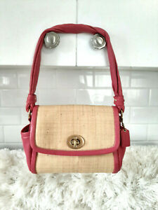 COACH Parker Petite Pink Leather Straw Bag Serial L0868-42475