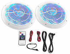 """Rockville RMC65LW 6.5"""" 600w 2-Way White Marine Speakers w/Multi Color LED+Remote"""