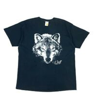 AMERICAN VINTAGE Mens Unisex Black Wolf Animal Graphic T Shirt XL Cotton