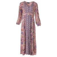 NWT Angie Purple Lavender Floral Long Sleeve V-Neck Button Maxi Dress Boho S/M/L