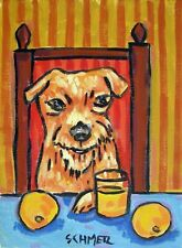 Irish Terrier Dog art Print abstract folk pop Art Jschmetz 8x10 kitchen orange