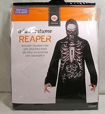 Adult Halloween Costume Grim Reaper, Black Skeleton Hooded Robe Attached Mask