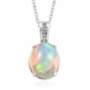 Natural Opal and Diamond Pendant (20 in) Platinum Over Sterling Silver 2.55 ctw
