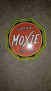 "Porcelain Drink Moxie Enamel Sign Size 6"" X 6 "" Inches"