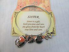 Silver SISTER Adjustable Wire Charm Bangle Bracelet # 5864 Heart Charms Gift Box
