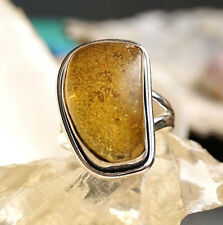 Silberring 58 59 Bernstein  Eckig Natur Schlicht Handarbeit Silber Ring Elegant