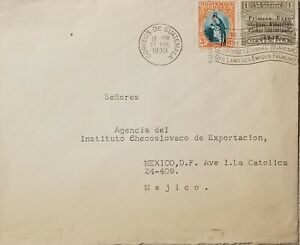 A) 1939, GUATEMALA, COVER SHIPPED TO MEXICO, NATIONAL EMBLEM AND MAIL AND TELEGR