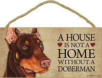 Doberman Wood Dog Sign Wall Plaque 5 x 10 + Bonus Coaster