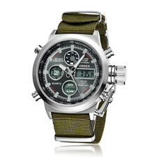 OHSEN Running Fitness Analog Digital Double Timezone Man Quartz Nylon Band Watch