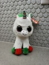 "Ty Beanie Boos Candy Cane the Unicorn 6"" Beanbag Plush Toy w/ Glitter"