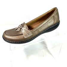Clarks Collection Women's Loafers Pewter Leather  Size 8.5 N EUC