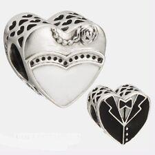 WEDDING DAY HEART WHITE & BLACK ENAMEL 925 Sterling Silver European Charm Bead