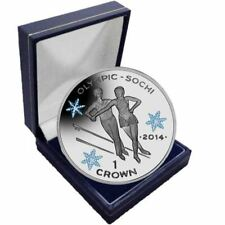 Isle of Man 2013 Winter Olympic Coloured Unc. CuNi Skating Coin in a box