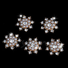 5Pcs Rhinestone Crystal Pearl Flower DIY Embellishment Flatback Buttons