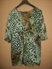 CAROLINE MORGAN SIZE 14 LEOPARD & PEACOCK PRINT TIE UP SHEER BEACH COVER TOP