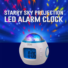 Led Rotating Projector Starry Night Lamp Star Sky Projection Music Alarm Clock #