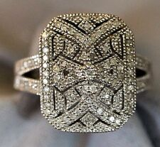 Sterling Silver Ring with scores of diamonds set in  pattern Sz 7 Dinner Wedding