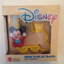 **NEW** 1988 VINTAGE MATTEL DISNEY SPIN N PLAY BABY MICKEY RATTLE TOY Yellow