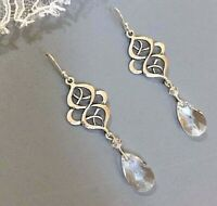Celtic Knot Art Deco Earrings Drop Sterling Silver Swarovski Crystal Teardrop