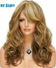 100% Human Hair New Beautiful Medium Brown Mix Blonde Wavy Women's Full Wigs