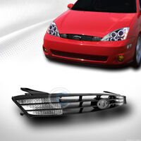 Fits 00-04 Ford Focus Matte Blk Front Hood Bumper Grill Grille ABS+Signal Lights