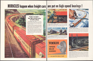 Timken Tapered Roller Bearings 1947 Freight Cars 2pg Print Art Ad 10.5 x 13.75