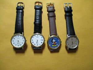 LOT 4 MEN'S QUARTZ WATCHES - SEIKO, TIMEX. CARRIAGE and LORUS Mickey Mouse