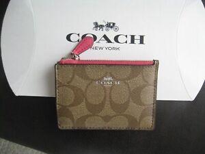 "Coach Signature ""C"" PVC Mini ID Skinny Khaki/Magenta 16107 NWY"