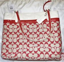 New Woman's COACH 29426 Cream Vanilla / Love Red (pink) Medium Tote Bag Purse