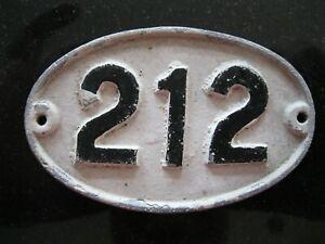Original Reclaimed Cast Metal Alloy Oval Number, House, Gate, Workshop 212