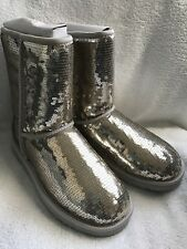 Ugg Classic Short Sparkles Silver Sequin Leather Boots Women's 7 NIB