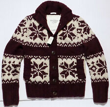 NWT Abercrombie & Fitch Fair Isle Chunky Heavy Wool Knit Cardigan Sweater Large